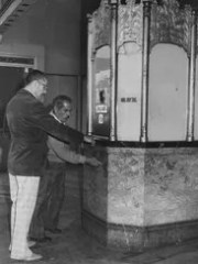 The ticket booth at the Fox Theatre, as shown in 1974,