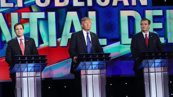 Marco Rubio, Donald Trump and Ted Cruz take part in