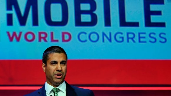 Federal Communications Commission Chairman Ajit Pai talks at the Mobile World Congress (MWC) on February 26, 2018 in Barcelona.