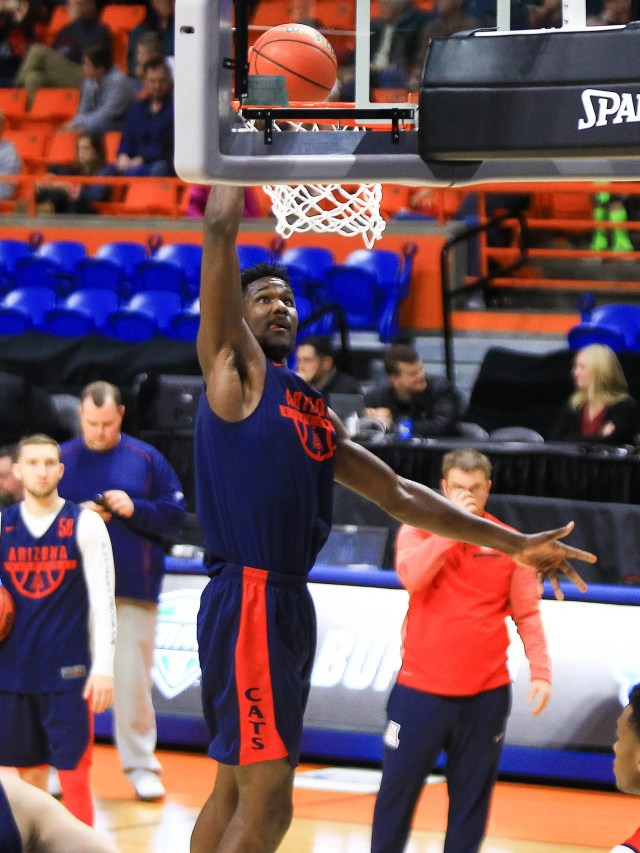 Mar 14, 2018: Arizona Wildcats forward Deandre Ayton (13) shoots during the practice day before the first round of the 2018 NCAA Tournament at Taco Bell Arena.