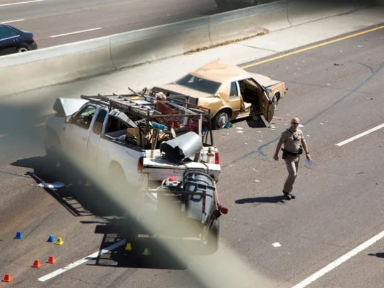 A vehicle plunged onto Interstate 17 near an overpass