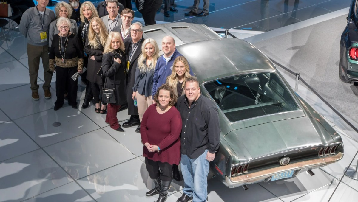 Samantha and Sean Kiernan (with Molly McQueen) and the whole family with the 68 Mustang Bullitt.