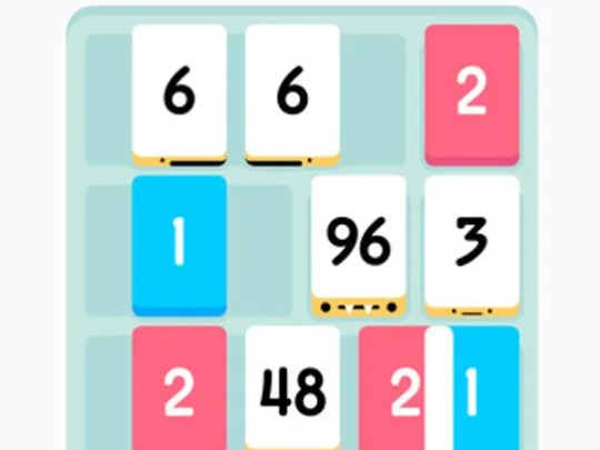 A screenshot of the game Threes.
