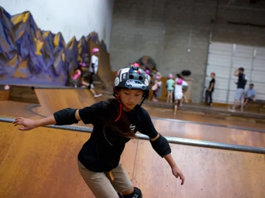 Mia Lovell, 10, of Phoenix has learned the skateboarding