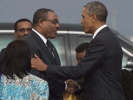 President Obama, right, shakes hands with Ethiopian