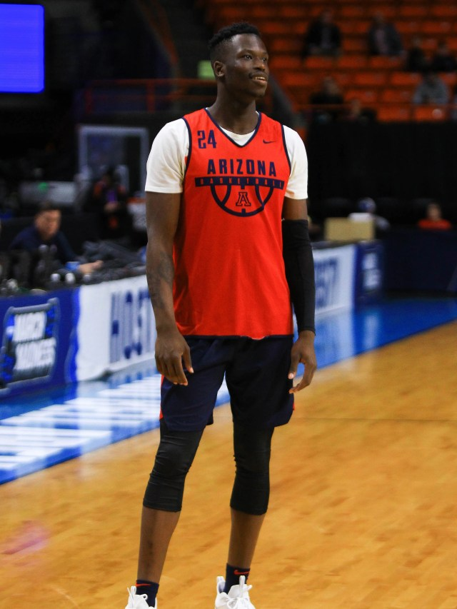 Mar 14, 2018: Arizona Wildcats guard Emmanuel Akot (24) reacts during the practice day before the first round of the 2018 NCAA Tournament at Taco Bell Arena.