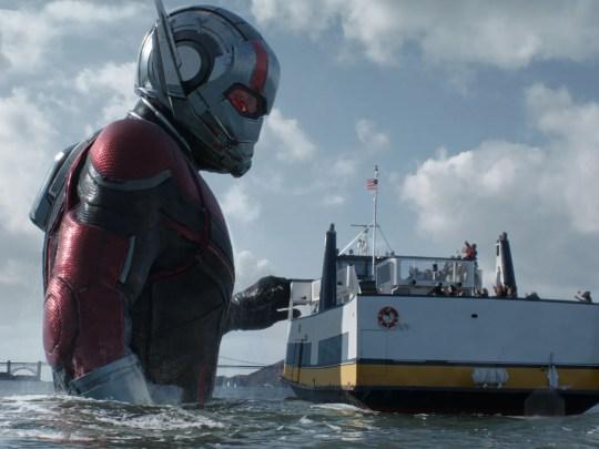Scott Lang (Paul Rudd) uses his Giant-Man form to seek