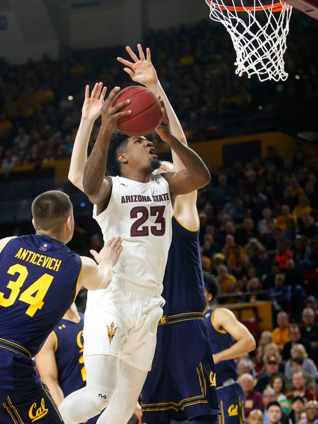 Arizona State Sun Devils forward Romello White (23) takes a shot while being guarded by California Golden Bears forward Grant Anticevich (34) during a men's basketball game at Wells Fargo Arena in Tempe on February 24.