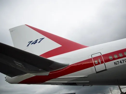 With a fresh coat of paint, the first Boeing 747 shines