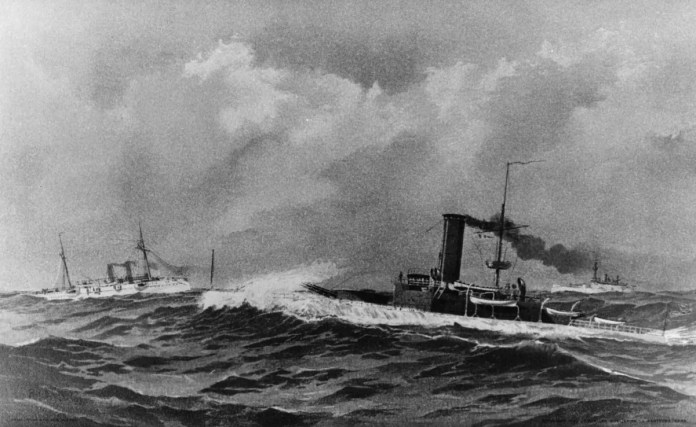 """In the 1880s and 1890s, downsizing gave way to a Naval build-up sparked by several factors. The """"closing"""" of the nation's frontier meant adventure might be easier to find on the seas. The third USS Detroit, left, sails stormy seas with the USS Monterey and USS Oregon in this 1893 painting by artist Fred Cozzens."""