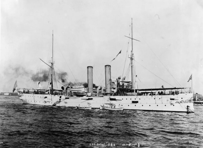 The third USS Detroit was a cruiser built at Baltimore's Columbian Iron Works and launched late in 1891. Her earliest action came in Caribbean and Latin American waters. In countries with uprisings and conflict, the USS Detroit would often land troops, or bluejackets, in order to protect American interests and provide a show of force.
