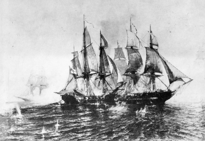 In the midst of the War of 1812, British and American forces traded control of Detroit following incursions into each others' territory. Britain commissioned the construction of the HMS Detroit, launched in August 1813. Its relatively small design made the ship ideal for scouting and carrying dispatches. Within a month, the sloop of war was engaged with American vessels in the Battle of Lake Erie, where it was heavily damaged, captured by the Americans and renamed the USS Detroit.