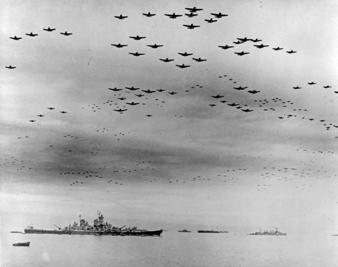 The USS Detroit was in Tokyo Bay for the surrender of Japan, Sept. 2, 1945. The USS Missouri, where the surrender ceremonies took place, is at left. the USS Detroit is in the right distance.