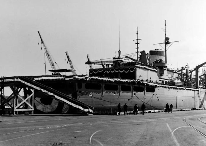 In the summer of 1969, the fifth iteration of the USS Detroit emerged from Puget Sound Naval Shipyard in Washington — a fast combat support ship destined for a 35-year career. That career would carry her into a variety of situations around the globe. She is shown her during commissioning ceremonies in 1970.