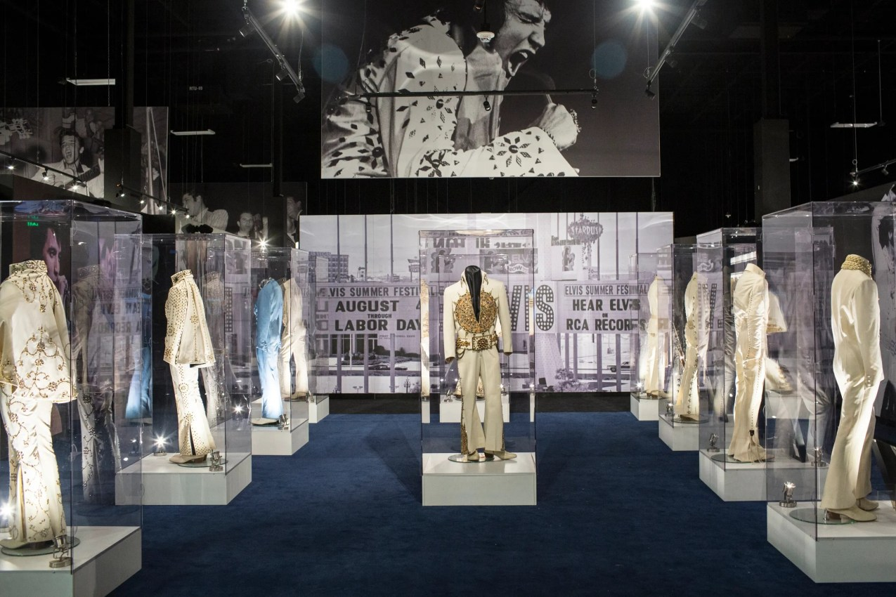 March 2, 2017: A collection of Elvis Presley's jumpsuits is seen inside of the Elvis the Entertainer Career Museum at Elvis Presley's Memphis.