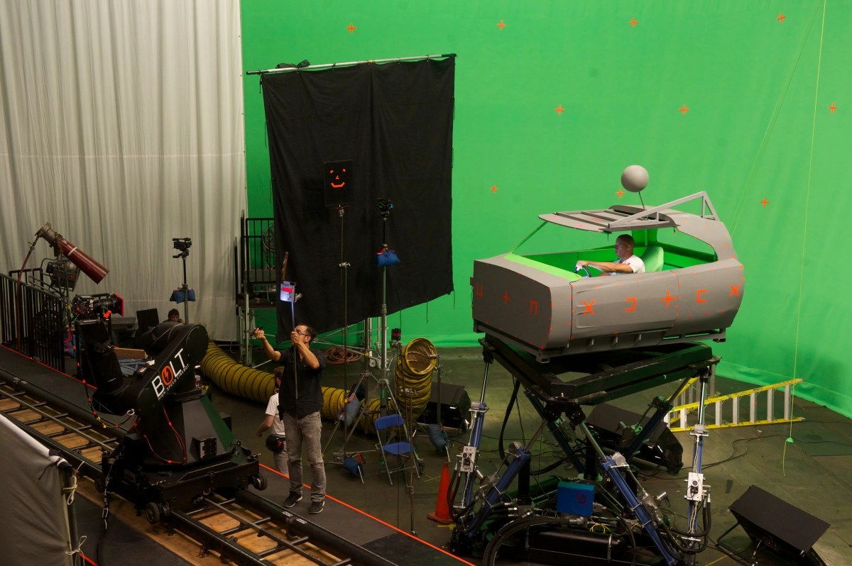 """Diesel is seen working the green screen behind-the-scenes production on Universal's """"Fast & Furious- Supercharged"""" ride in Orlando."""