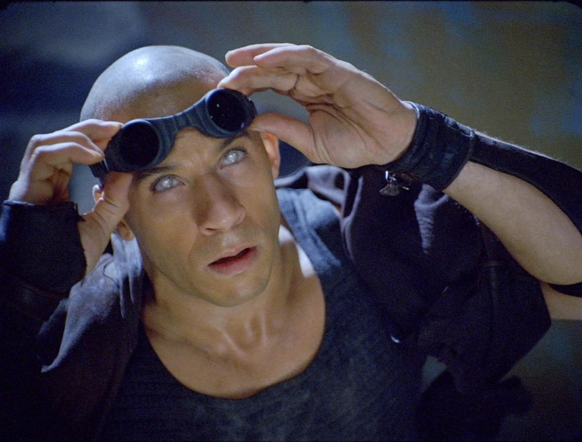 """He has crazy eyes in a scene from the 2004 motion picture """"The Chronicles of Riddick."""""""