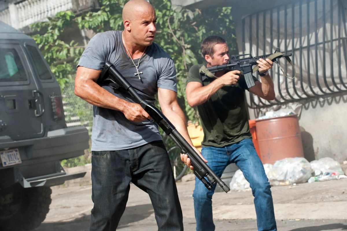 """Dom Toretto (Vin Diesel) and Brian O'Conner (Paul Walker) in a scene from """"Fast Five."""""""
