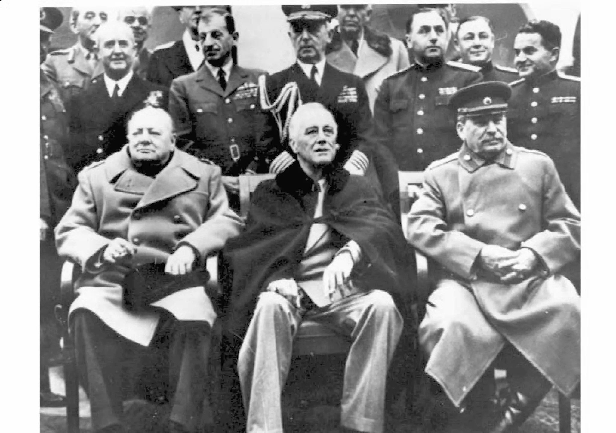 This file photo shows from left to right: British Prime Minister Winston Churchill, US President Franklin D. Roosevelt and Chairman of the Soviet of People's Commissars of the USSR Joseph Stalin at the resort town of Yalta on the Black Sea .