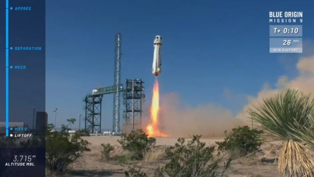 636675107708654238-blue-flight9-launch1 Blue Origin's New Shepard launches, lands in Texas test flight
