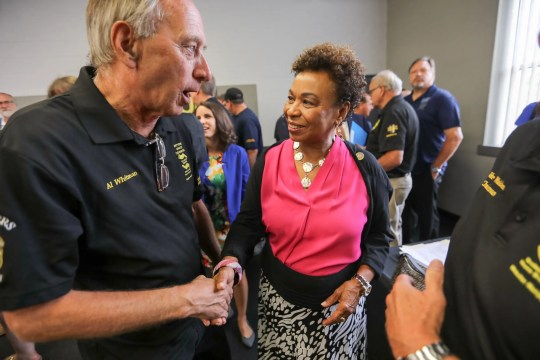 California Congresswoman Barbara Lee talks with Al Whitman, of the National United Committee to Protect Pensions, during a town hall to discuss pensions at the Teamsters Health and Welfare Building in Detroit on Friday, July 20, 2018.