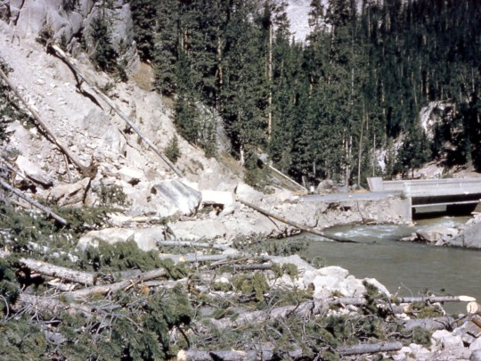 Debris from a landslide blocks part of a road in Gibbon Canyon in Yellowstone National Park after a magnitude-7.3 earthquake struck the area on Aug. 17, 1959.