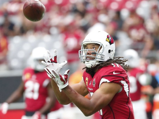 Larry Fitzgerald warms up before the Cardinals' loss to the Redskins at State Farm Stadium.