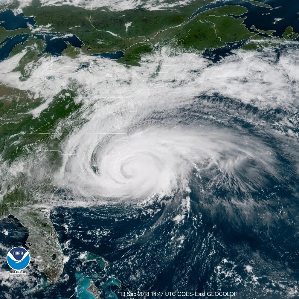 Hurricane Florence path  Where is Hurricane Florence now  A satellite image shows Hurricane Florence spinning off the U S  East Coast  on Thursday  Sept  13  2018   Photo  NOAA