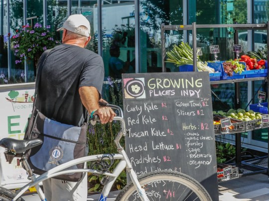 A man looks over fresh produce at the Julia M. Carson Transit Center for the ÒFood in TransitÓ program on Friday, Sept. 14, 2018. Indianapolis Mayor Joe Hogsett, in partnership with IndyGo and Growing Places Indy, launched the ÒFood in TransitÓ program. Visitors to the Transit Center can purchase produce every Friday from 3 p.m. to 6 p.m. through October 26.