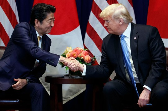 President Donald Trump meets with Japanese Prime Minister Shinzo Abe at the Lotte New York Palace hotel during the United Nations General Assembly, Wednesday, Sept. 26, 2018, in New York.