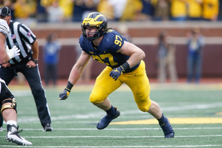 Freshman defensive lineman Aidan Hutchinson living up to family name with  Michigan Wolverines