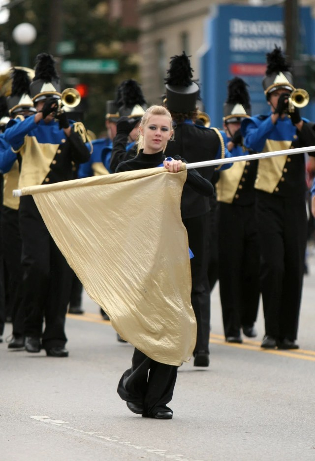 Members of the Northwest High School band perform in the University of Cincinnati Homecoming Parade on October 24, 2009.
