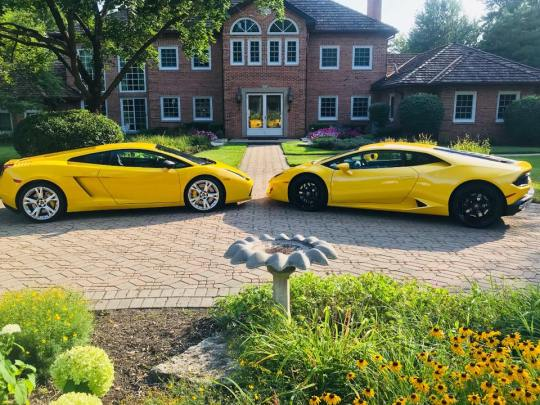 Viktor Aharon's 2006 Lamborghini (left) and Richard Colombik's 2017 Lamborghini (right) pictured in a suburb northeast of Chicago.