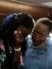 Lisa Wright, Brennan Walker's mother (left), sobs after the verdict was read at Oakland County Circuit Court in Pontiac, Mich. on Oct. 12, 2018. She's pictured here with her friend, Carin Poole.