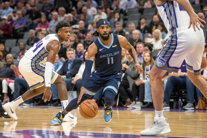 Oct 24, 2018; Sacramento, CA, USA; Memphis Grizzlies guard Mike Conley (11) drives to the basket during the first quarter against the Sacramento Kings at Golden 1 Center.