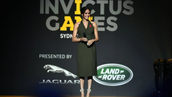 Meghan, Britain's Duchess of Sussex, smiles during her speech at the closing ceremony of the Invictus Games in Sydney on Oct. 27, 2018.
