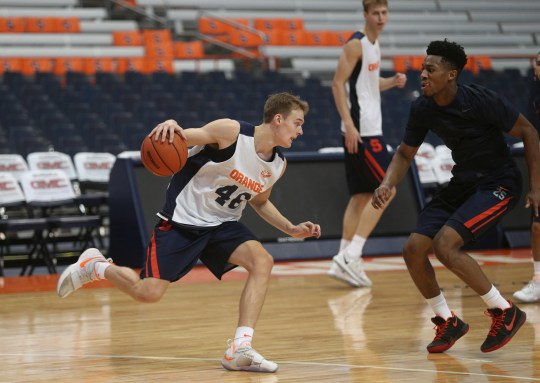 Buddy Boeheim  during practice at Syracuse University where he will play for his father, Jim Boeheim.