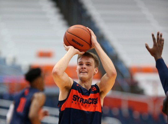 Buddy Boeheim works on his jump shot during practice at Syracuse University where he will play for his father, Jim Boeheim. Buddy has been known to take up to 1,000 shots a day and his dad says his release is among the best he's ever seen.
