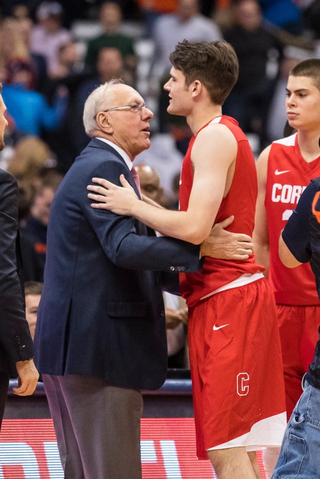 SYRACUSE, NY - NOVEMBER 10:  Head coach Jim Boeheim of the Syracuse Orange embraces his son Jimmy Boeheim #3 of the Cornell Big Red after the game at the Carrier Dome on November 10, 2017 in Syracuse, New York. Syracuse defeats Cornell 77-45.  (Photo by Brett Carlsen/Getty Images)