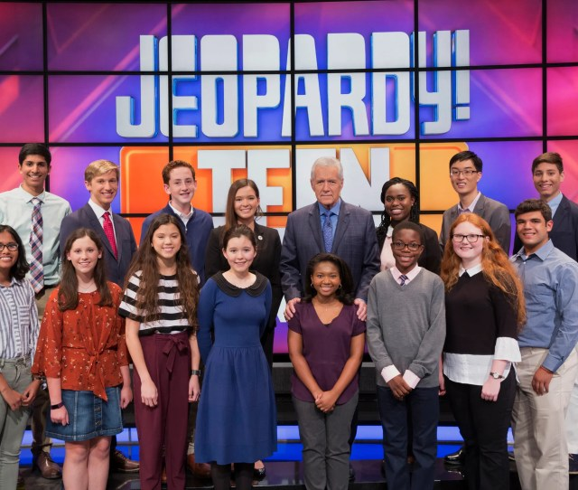 Host Alex Trebek And The Teens Competing On The Shows