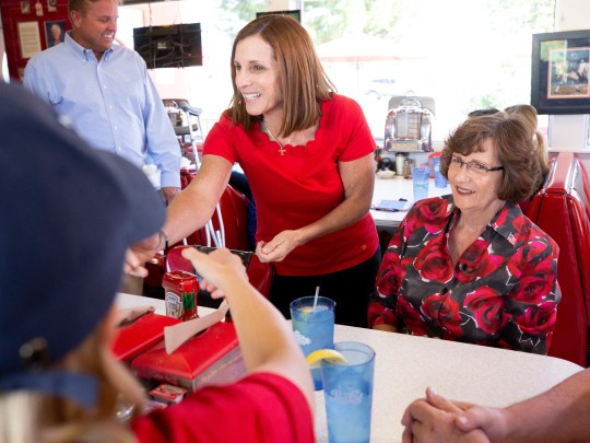 Rep. Martha McSally makes a stop at Chase's Diner in Chandler on Election Day, Nov. 6, 2018.