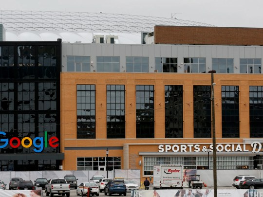 The exterior with the colorful Google name at the Little Caesars Arena in Detroit on Wednesday, Nov. 7, 2018.