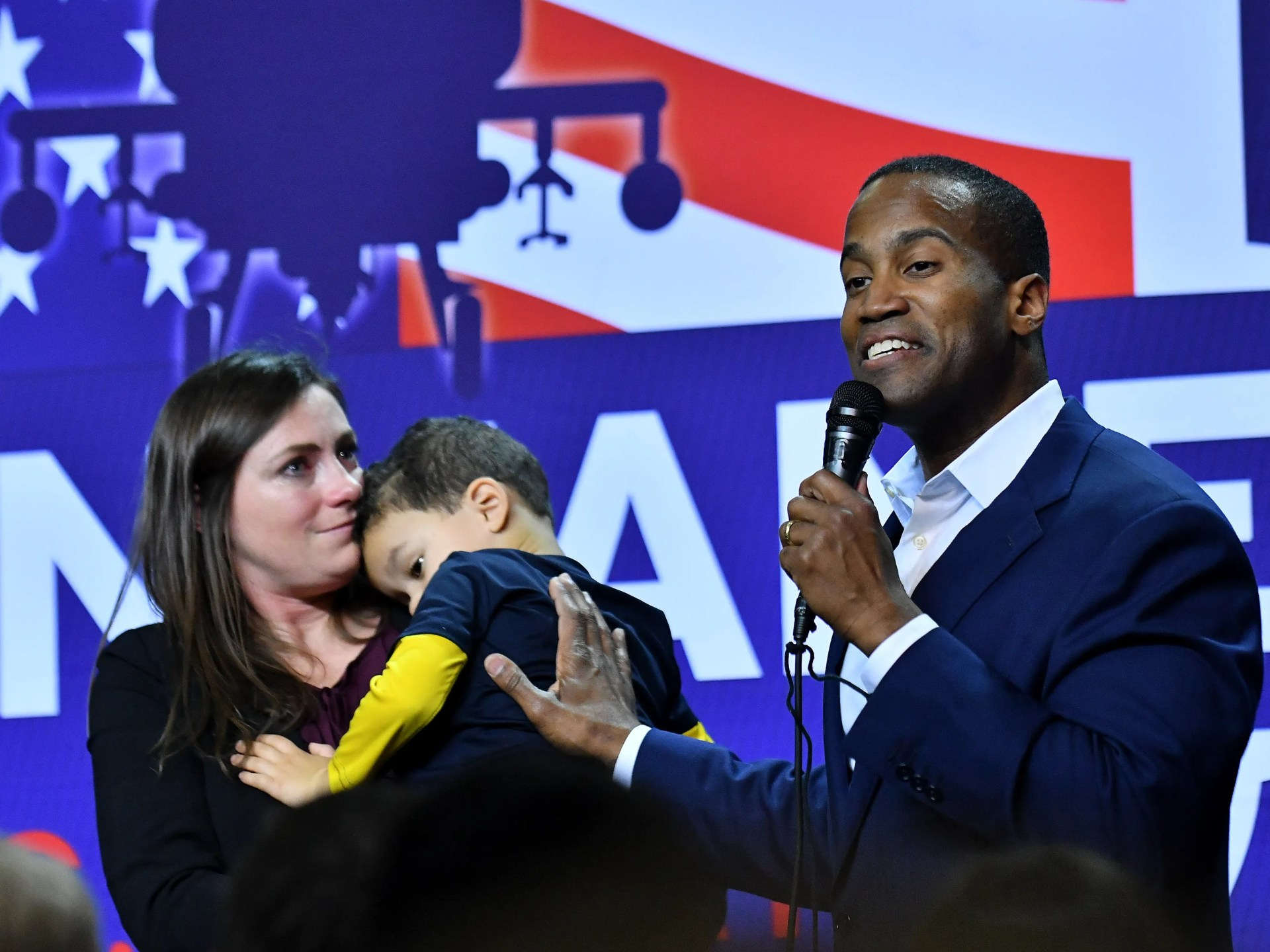 With wife Elizabeth at his side, Republican U.S. Senate candidate John James thanks his supporters, concedes the race and says he will enjoy having more time with his family. He spoke at his election night party  at James Group International in Detroit.