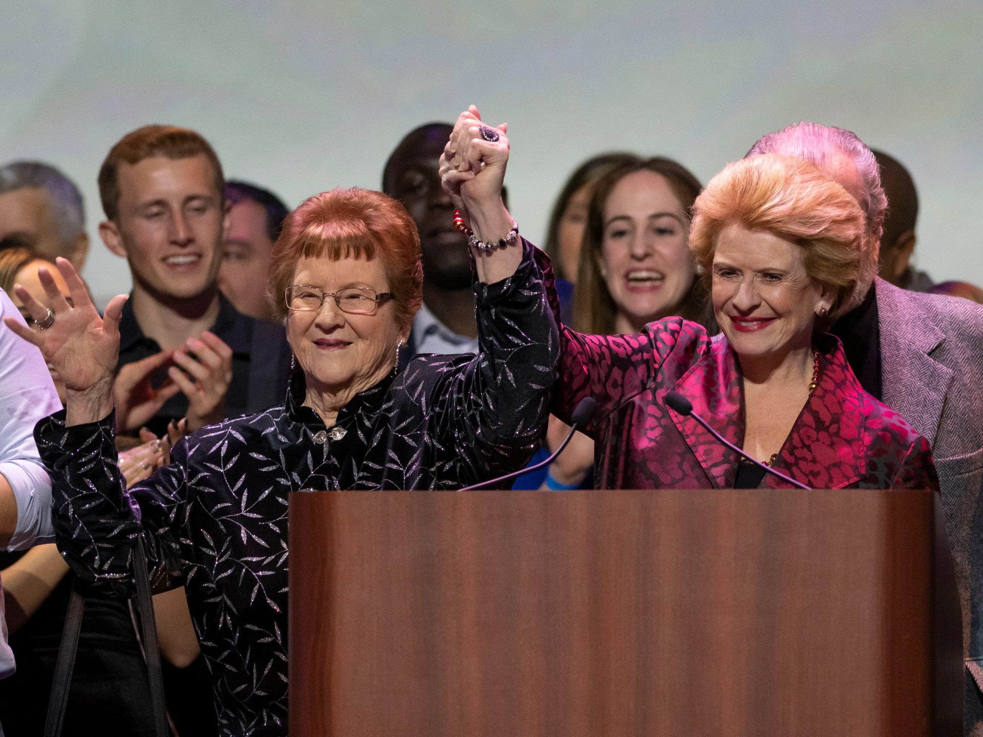 U.S. Senator Debbie Stabenow, right, celebrates with her mother Ann Greer after winning re-election.