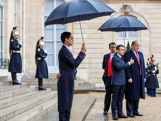 French President Emmanuel Macron welcomes President Donald Trump on Saturday on his arrival at the Elysee Palace in Paris. Trump will join other leaders in commemorating the fallen soldiers of the First World War in France.