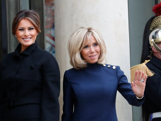 Brigitte Macron, wife of French President Emmanuel Macron, and First Lady Melania Trump posing on Saturday in Paris Elysee. President Donald Trump is gathering in Paris this weekend to commemorate the end of World War I on the occasion of the centennial commemoration in Paris.