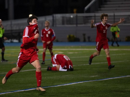Ocean celebrate their championship. Ocean Township vs.  Millburn in NJSIAA Boys Group III Soccer final in Union NJ.