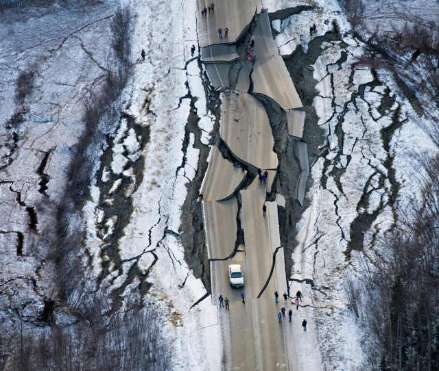 This Aerial Photo Shows Damage On Vine Road South Of Wasilla Alaska After