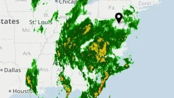 The USA TODAY Weather map shows a storm moving across the eastern United States on Dec. 20, 2018.