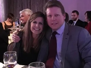 Debbi and Wade Taylor attend the Professional Baseball Scouts Foundation dinner in 2017.